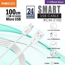 RECCI SMART USB 100CM Fast Charging TPE Material RCM-Z100 MICRO Putih