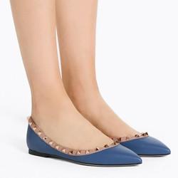 Sepatu flat wanita original | VALENTINO ROCKSTUD BALLERINA IN BLUE