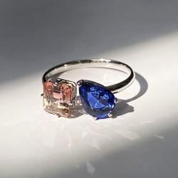 Cincin Emas - Sen Modern Ring With Sapphire And Bi Color Tourmaline