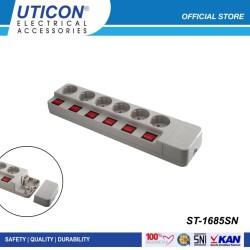 Uticon Stop Kontak Arde + Switch Tanpa Kabel ST-1685SN ORIGINAL