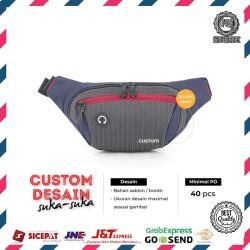 Custom Tas Waistbag Tas Slempang Dada Desain Logo Brand Sendiri Custom