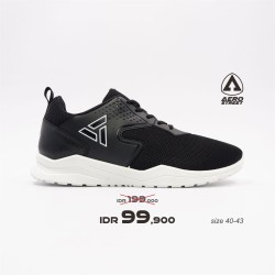 Aerostreet 40-43 Delta Hitam - Sepatu Sneakers Casual Sport Pria