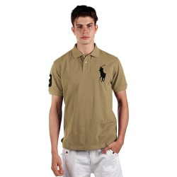 POLO RALPH LAUREN Polo Shirt Custom Fit Light Taupe Men X04ABZE05LK