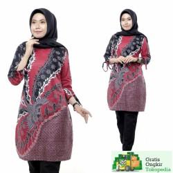 Tunik Batik Wanita Terbaru Lengan Serut