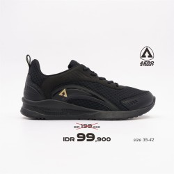 Aerostreet 35-42 Leopard Hitam Emas - Sepatu Sneakers Casual Sport