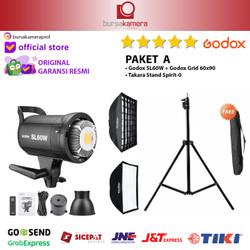 GODOX SL 60 W / SL60W / SL60 W + Lighstand + Softbox + Grid Ori RESMI