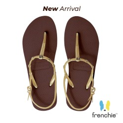 Frenchie Sandal Jepit Wanita Strappy Rockstud Gold/Dark Brown SFR05