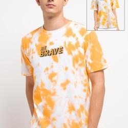 d&f Kaos pria Tye Dye Be Brave - putih komb kuning