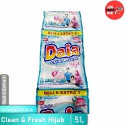 Daia Deterjen Bubuk Clean and Fresh Hijab 51g Isi 6 Extra 1