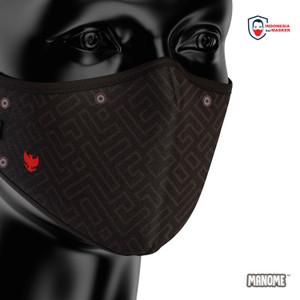 Masker kain Non Medis Premium MANOME - HITAM PUTIH