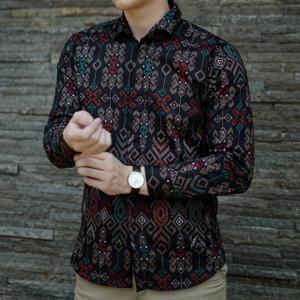 Kemeja Pria Batik Songket Hitam Lengan Panjang / Batik Cowo Formal
