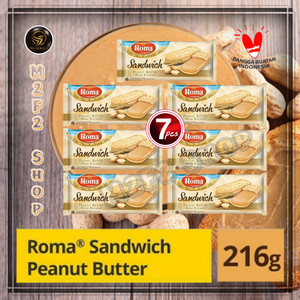 Roma Biskuit Sandwich Peanut Butter Krim Kacang - 216 gr (Harga Pack)