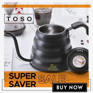 TOSO Black Kettle Buono Termometer Teko Leher Angsa Pour Over V60