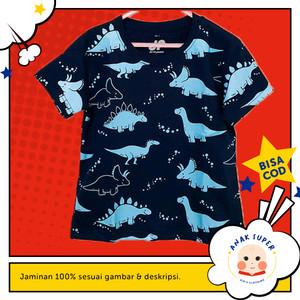 Baju/Kaos Anak Lengan Pendek Motif DINO NAVY 1 - 10 Tahun