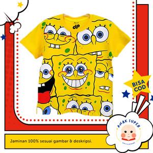 Baju/Kaos Anak Lengan Pendek Motif Spongebob Full print 1 - 10 Tahun