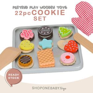 Freni 22pc Cookie Set Baking Oven Tray Wooden Toy Set Mainan Anak Kayu