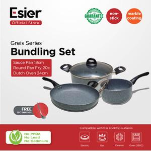 Esier Greis Bundling Set Free Gift - Promo Peralatan Masak 3 pcs Panci