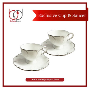 Narumi Simply Platinum 1 Set (2 cups, 2 saucers) Gelas Cangkir dan Ala