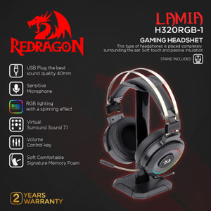Redragon Gaming Headset RGB with Stand LAMIA 2 - H320RGB-1