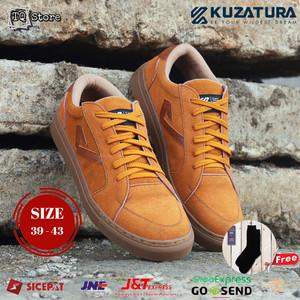 Sepatu Sneakers Pria Casual Kuzatura Original Leather Suede Cokelat