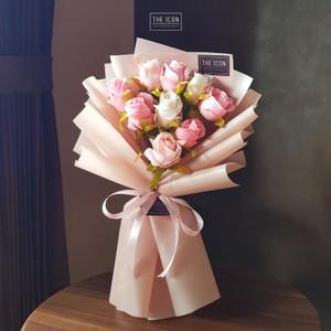 9 Heads Rose Artificial Flower Bouquet / Buket Mawar 9 Tangkai Palsu