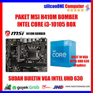 PAKET MSI H410M BOMBER + CORE i3-10105 BOX RESMI 3 TAHUN