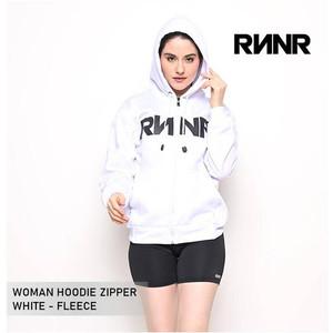 Hoodie Zipper Wanita Jaket Olahraga RNNR Sweater Fleece Nyaman Putih