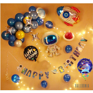 LED SET Foil Balloon Galaxy Banner / Balon Foil Astronot / Dekorasi
