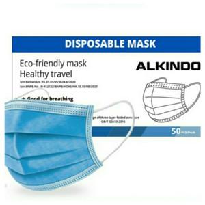 Masker Medis Alkindo 3 Ply 1 BOX isi 50 PCS Earloop Biru Izin Kemenkes