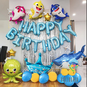 Set Foil Balloon Happy Birthday Baby Shark Ocean / Dekorasi Balon