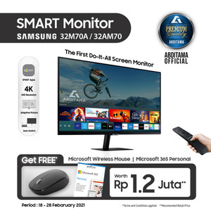"Smart Monitor LED Samsung 32M70 S32AM70 32AM70 32"" 4K HDR10 HDMI USB-C"