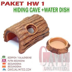1023A PAKET HIDING CAVE WATER DISH TEMPAT SEMBUNYI MINUM AIR REPTILE