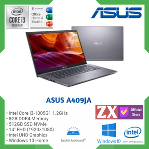 LAPTOP ASUS VIVOBOOK A409JA - I3-1005G1 8GB 512GB SSD 14'' HD WIN 10