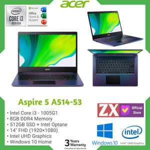 "LAPTOP ACER ASPIRE 5-A514 I3-1005G1 8GB 512GB+OPTANE 32GB 14"" W10 OHS"