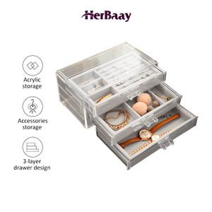 Kotak Penyimpanan Perhiasan / Jewerly Box / Kotak Jam Tangan 3 Laci