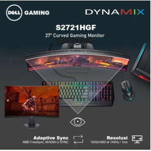 """DELL S2721HGF 27"""" CURVED Gaming Monitor 144Hz FreeSync & NVIDIA G-SYNC"""