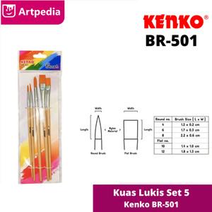 Kenko Brush Set BR-501 / Kuas Lukis BR-501 Set 5 / Kuas Cat Air Kenko