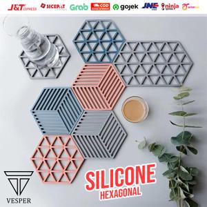 Alas tatakan gelas cangkir panci / japanese cup pad coaster hexagonal