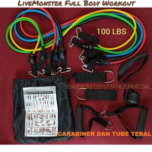 Live Monster 100 LBS Resistance Band Set 11 tube home fitness gym yoga