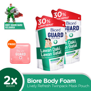 Biore Body Foam Lively Refresh 800ML Twinpack FREE Gift