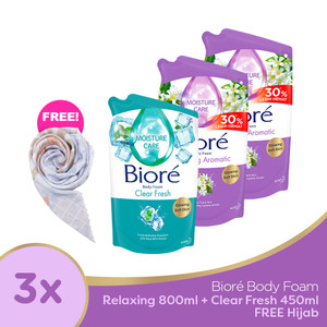 Biore Body Foam Relaxing 800ML 2pcs + Clear Fresh 450ML FREE Gift