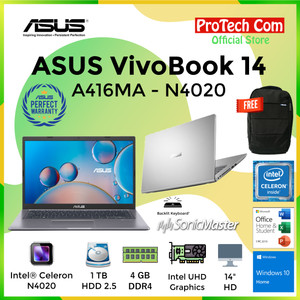 "ASUS VIVOBOOK A416MA DUALCORE N4020 4GB 1TB HDD INTEL HD 14"" OHS W10"