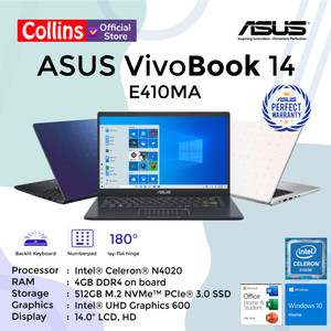"LAPTOP ASUS E410MA - INTEL N4020 DDR4 4GB 512GB SSD INTEL UHD 14"" W10"