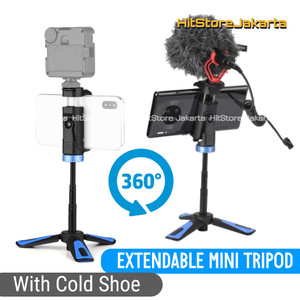 Cold Shoe Mini Tripod Extendable Tripod HP Vlog Kamera Tongsis Lipat