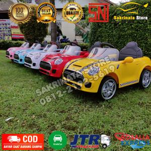 Mainan Mobil Aki anak Murah Mini Cooper Ban Karet Jok Kulit