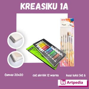 Kreasiku 1A Kanvas 20 x 20cm + Kuas Joyko Br-1+V-tec Acrylic 6ml x 12