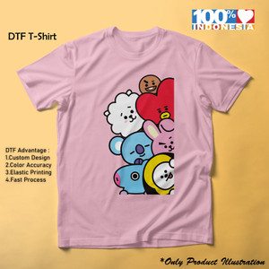 Kaos Anak BT21 Friends Pink DTF Printing 30s Supersoft