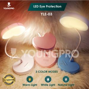 Lampu Meja Belajar Baca LED Love Sentuh USB 3 Mode Isi Ulang Fleksibel