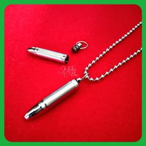 kalung peluru monel bisa di buka tahan karat