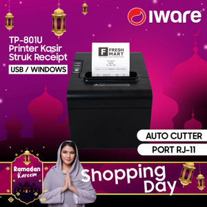 PRINTER KASIR THERMAL 80MM AUTO CUTTER IWARE TP-801 KONEKSI USB